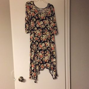 Floral Asymmetrical Tshirt Dress